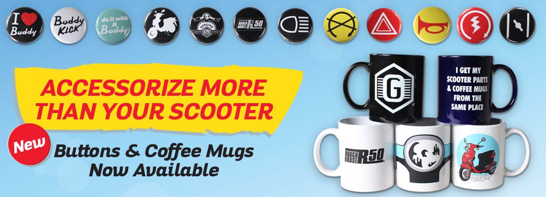 Scooter mugs and buttons