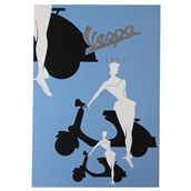 Greeting Card (Vespa, Blue Silhouette, 4
