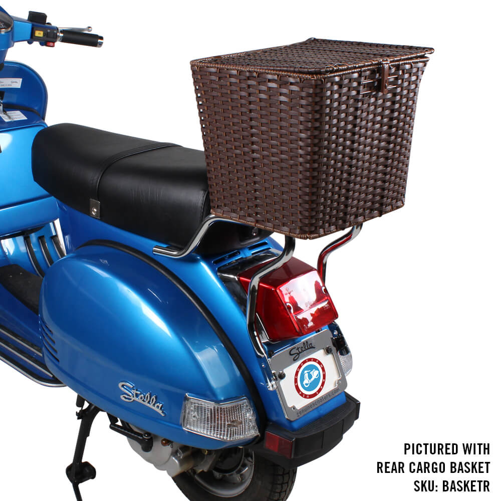 Prima Rear Shelf with Cargo Basket on Vespa Scooter