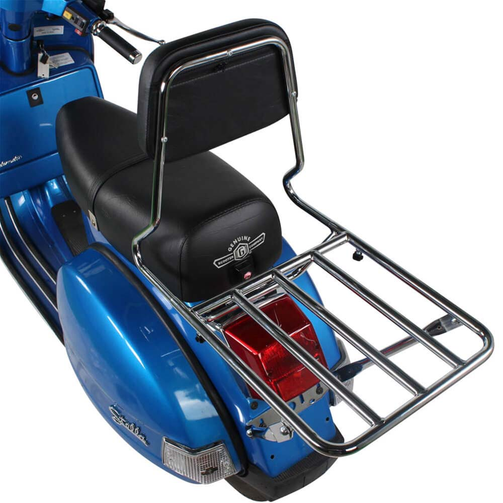 Prima Rear Rack on a Blue Scooter High Angle Rear View