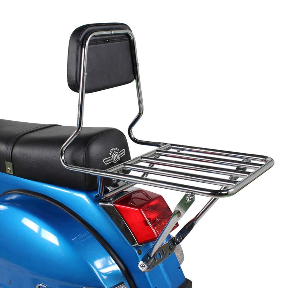 Prima Rear Rack on a Blue Scooter Side View