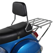 Prima BBQ Rear Rack (w/ Backrest); Vespa P Series, StellaS