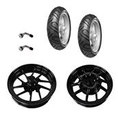 2 Tires, 2 Sport Rims, 2 Valve Stems; Yamaha Zuma 125S