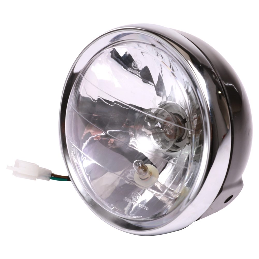 Motorcycle Headlight (Black Scrambler, H4); Genuine