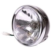 Motorcycle Headlight (Black Scrambler, H4); GenuineS