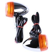 Turn Signal Pair (Chrome, Bullet, Amber Lens); G400C