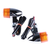 Turn Signal Pair (Chrome, Mini Bullet, Amber Lens); G400C