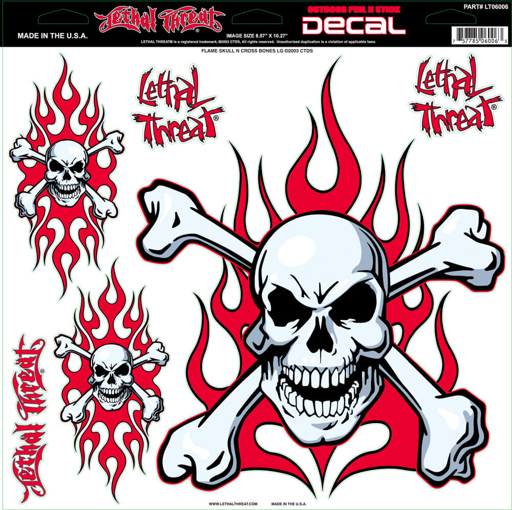 "Decal/Sticker, Red Flaming Skull -11.5 x 11.75"" Assorted"