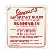 Running In Decal; VS2-5,VSBS