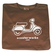 T- Shirt (Scooterworks Logo, Brown)S