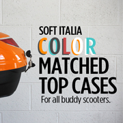 Now in stock, color-matched top cases from Soft Italia!