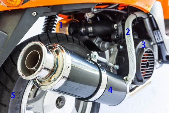 This GY6 engine with performance parts from Scooterworks is faster and cooler than the original 50cc motor.