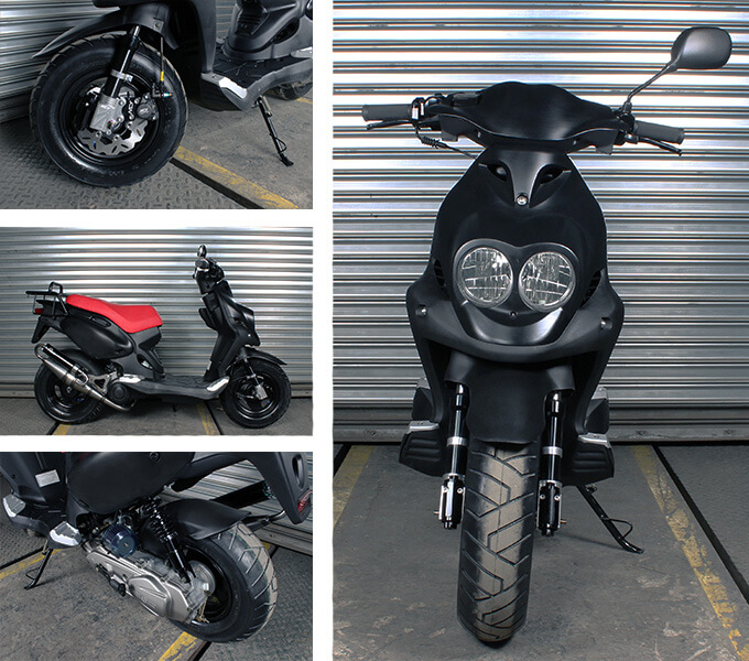 Multiple angles on this scooter's performance upgrades