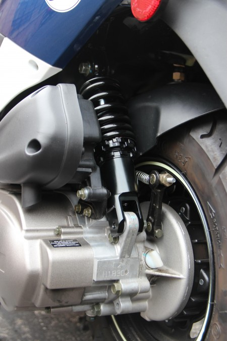 Close up of Low Down Shock installation on a Buddy Scooter.