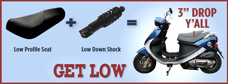 Lower your Genuine Buddy by three inches with this seat and rear shock